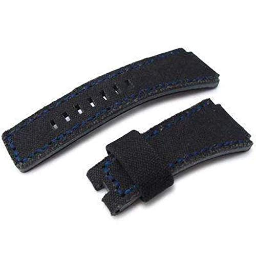 Strapcode MiLTAT Black Washed Canvas für Bell & Ross Ersatzriemen, Blue Stitches