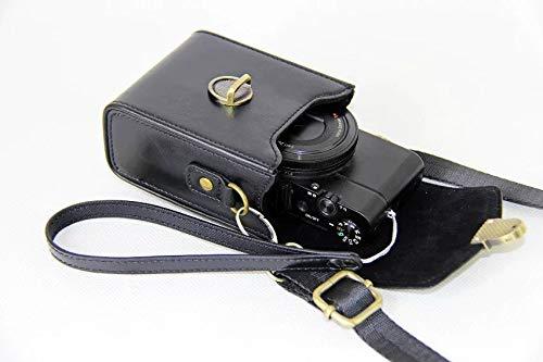 Pride Kings Premium Kameratasche aus Leder mit verstellbarem Gurt | Kamera Schutzhülle für Nikon, Sony, Fuji, Casio, Olympus, Samsung, Canon, Panasonic u.a. | Schnappverschluss | Schwarz - Damen-kameratasche