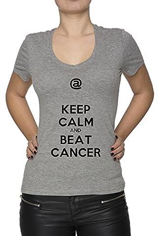 Keep Calm And Beat Cancer Gris Coton Femme V-Col T-shirt Manches Courtes Grey Women's V-neck T-shirt