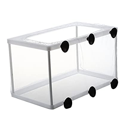 SODIAL(R) Fish Tank Plastic Frame White Net Fry Hatchery Breeder with Suction Cups 4