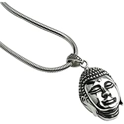Anazoz Joyería 316 Acero Inoxidable Negro Plata Hombres Collar Cadena Serpiente Colgante Cabeza Buda