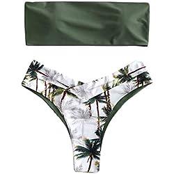 Bikini Brésilien Maillots de Bain Femme 2 Pieces Sexy Bandeau Push-up Bas de Maillot Tanga de Plage Natation Ete Bonjouree (Vert, M)