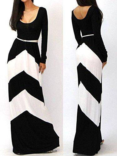 JXLOULAN Frauen Hit Farbe gestreiften langärmeligen regelmäßige geometrische den Fußboden Kleider Schwarz + Weiß