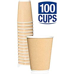 Caterserve Ripple Wall Paper Cups for Tea and Coffee Takeaway Drinks - Triple Wall Insulated Disposable 12 oz (100 Cups No Lids)