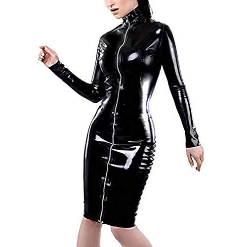 WONDER BEAUTY Schwarz Damen Elegant Kunstleder Kleid Wetlook PVC Langarm Cocktail Club Abendkleider L