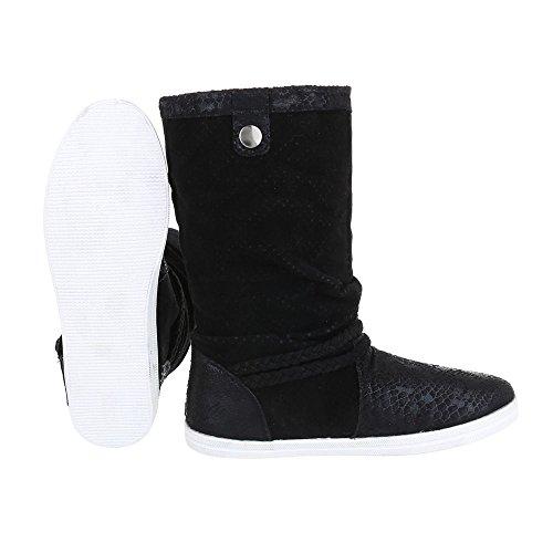 Komfortstiefel Damenschuhe Klassischer Stiefel Ketten Deko Ital-Design Stiefel Schwarz FC-F113