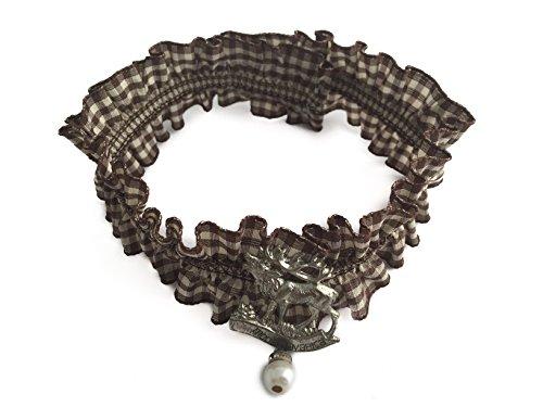 Trachtenkette Kropfband Vichyband Armband Strumpfband Maßkrugband Trachtenschmuck Kropfkette Halskette Damen braun (Kariertes Strumpfband)