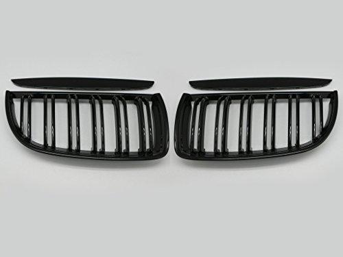 Reemplazo de la parrilla del marco cromado - (2) Parrilla de aleta dual, parrilla compatible en negro brillante para E90, E91, 320i, 335i, accesorios delanteros para auto