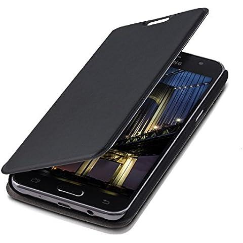 kwmobile Funda potectora práctica y chic FLIP COVER para Samsung Galaxy J5 (2015) en negro