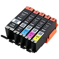5X ORIGINAL Canon setup Cartouches 5er Set d'IMPRIMANTE AVEC PUCE PGI-550 CLI-551 d'impression pour Pixma Imprimante IP7200 séries IP7250 ip8700 IP8750 IX6850 MG5400 mg5420 MG5450 mg5450s MG5500