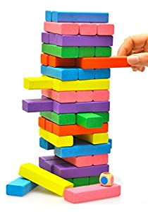 OYMI 48 PCS Baby & Toddler Stacked Layers Wooden Handmade Building Blocks Bricks Toys Intellectual Toys (Multicolor & No Numbers Carved)