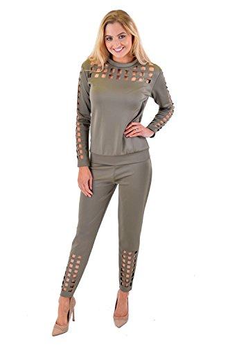 Mesdames coupe laser à manches longues Survêtement Loungewear Leggings de poche Jogging Pant Kaki