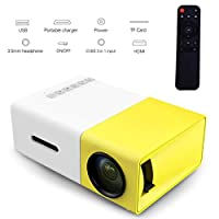 ‏‪YG300 Mini Portable Projector 400 - 600 Lumens LCD Video Projector Support HDMI / USB / AV / CVBS/ Remote Control for Home Cinema Theater Indoor/Outdoor Movie projectors Yellow‬‏