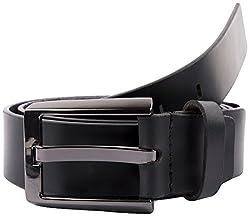 Mens Black 35 mm Black Original Leather Formal Belt By Pacific Gold