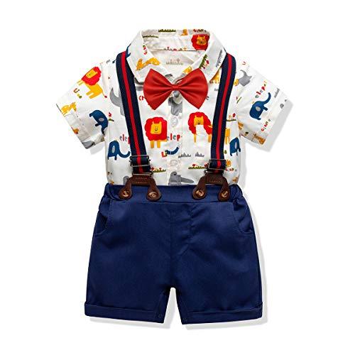 f112aff695eb Zoerea Neonato Ragazzo Abbigliamento Set Camicia Corta Stampa Animalier  Pagliaccetto + Pantaloni + Bretelle + Papillon