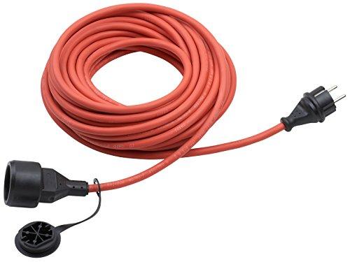 Meister Schutzkontakt-Verlängerung - 25 m Kabel - rot - Gummischlauchleitung - IP44 Außenbereich / Verlängerungskabel mit Kindersicherung / Schuko-Verlängerung / 7435770