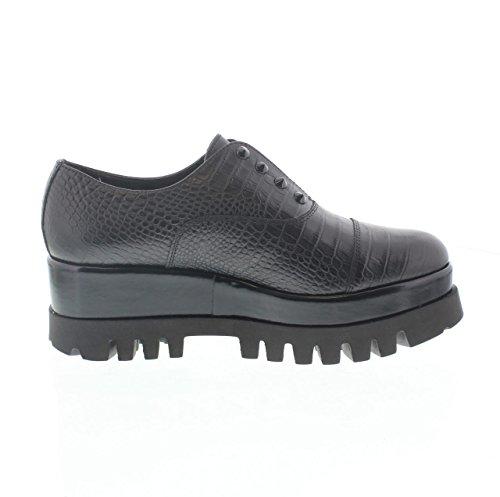Cult Femme Chaussures de chaussures de sport cuir noires rivets Noir