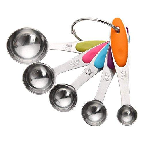 Messlöffel Sets, Edelstahl Backlöffel mit Silikon Griff, Backen Messwerkzeuge für trockene und flüssige Zutaten (5 PCS) by OITUGG