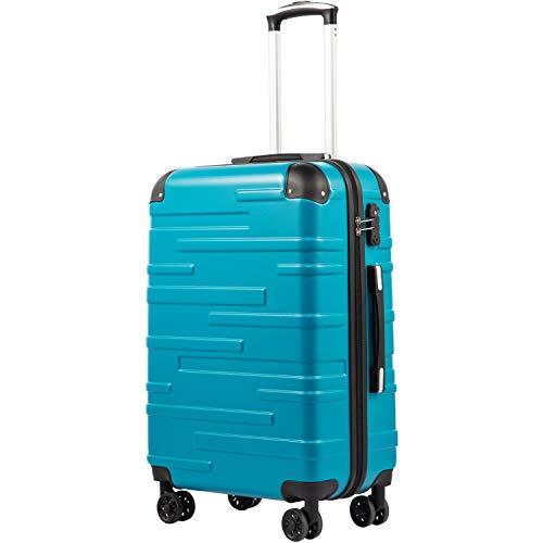 COOLIFE Hartschalen-Koffer Rollkoffer Reisekoffer Vergrößerbares Gepäck (Nur Großer Koffer Erweiterbar) ABS Material mit TSA-Schloss und 4 Rollen(Türkisblau, Mittelgroßer Koffer)