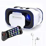 """Lunettes 3D VR , Casques de Réalité Virtuelle avec Bluetooth Télécommande Headset Box pour VR Jeux et Films 3D Compatible avec iPhone X / 8 / 7 / 8 Plus / 6S Samsung S8 / S7 et 4.0""""-6.0"""" Smartphones"""