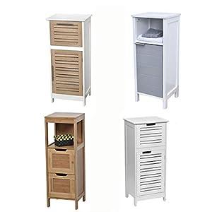 TENDANCE Columna Mueble bajo de Sala de baño – 1 Espacio de Almacenamiento 1 Puerta y 1 nicho – Color Blanco y Gris