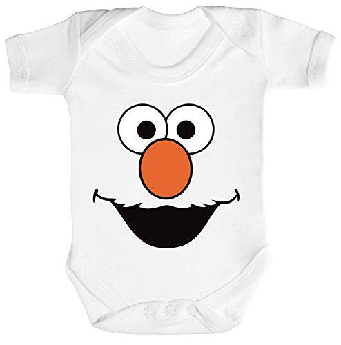 Fasching Karneval Verkleidung Strampler Bio Baumwoll Baby Body kurzarm Red Monster, Größe: 3 - 6 Monate,White (Baby Kostüm Elmo)