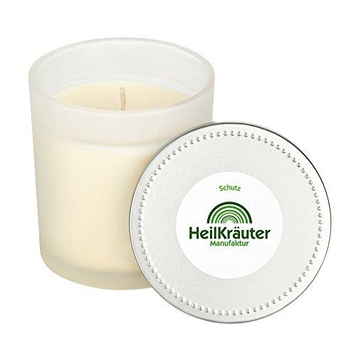 Heilkräuter Manufaktur Bio-Heil-Kräuter-Kerze für Schutz und Stärkung - Handarbeit aus Rapswachs und natürlichen Heilkräutern. Im Glass mit Deckel - Bio-aromatherapie-kerze