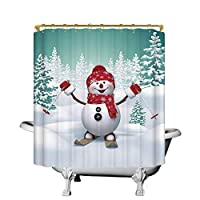 """changchuan Christmas Practical Shower Curtain,Snow Covered Mountain With Fir Trees And Skiing Snowman Fun Holiday Activity For Kids Bathroom,70"""" W X 90"""" H 60X72 Inch"""