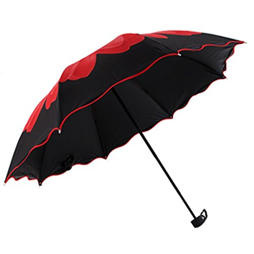 Paragua Parasol Plegable Protección UV Diseño De Moda Nuevo Flor Elegante Regalo Para Mujer Negro Rojo