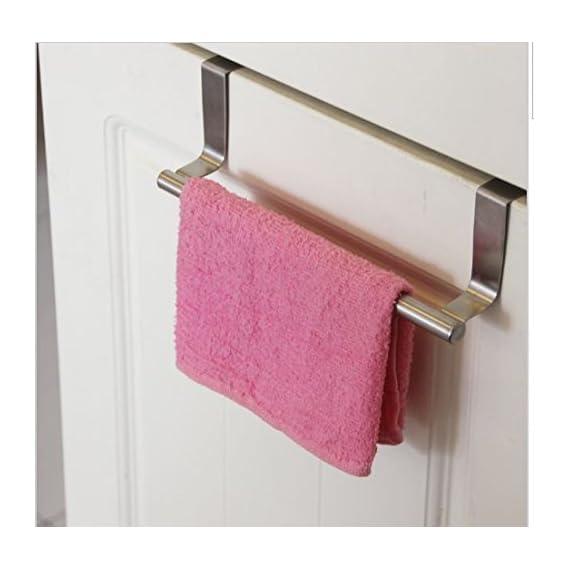 2heet Stainless Steel Towel Bar Holder Cabinet Hanger Over Door Kitchen Hook Drawer Storage (Silver)
