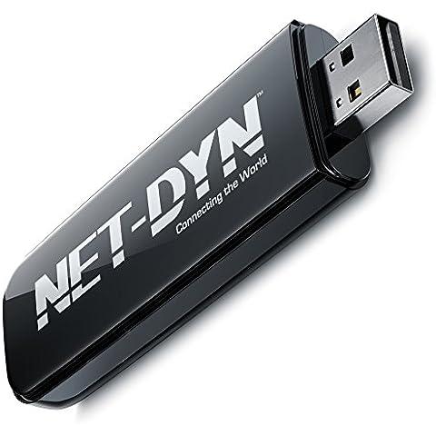 Adaptador USB WiFi Internet inalámbrico de doble banda N600(300/5GHz + 2.4GHz 300Mbps)–PC + MAC by net-dyn