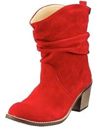 Jonny's Dolores 6500 - Botas de cuero para mujer con aspecto usado, color rojo (rot), talla 32