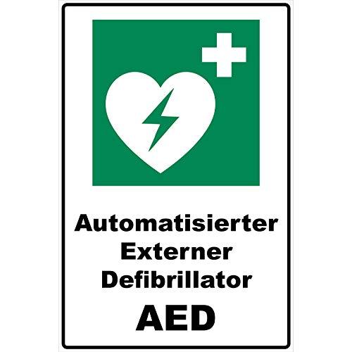 Schild Automatisierter Externer Defibrillator AED Schild Rettungszeichen grün 30 x 20 x 0,3 cm Hartschaumplatte -