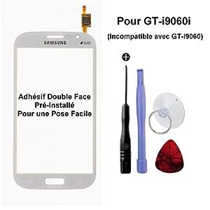 Vitre Tactile pour Samsung Galaxy Grand Plus GT-i9060i Blanc - Incompatible avec le GT-i9060 - Outils Fournis et Adhésifs Sticker Double Face Pré-Installé pour une Pose Facille (Vendu Sans écran LCD)