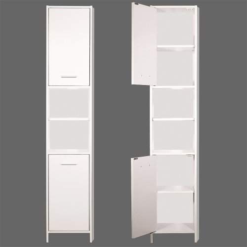 White Bathroom Furniture Storage Cupboard Cabinet Shelves: Tall Bathroom Cabinet Cupboard White Large Storage Shelf