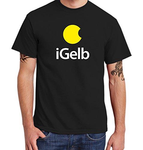 ::: iGELB ::: T-Shirt Herren, Schwarz, gelb-weißer Aufdruck, Größe 3XL