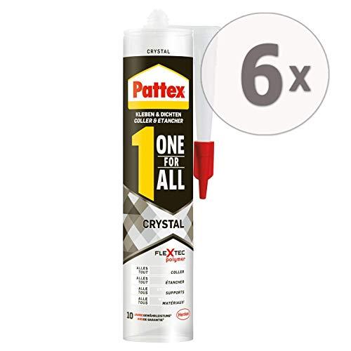 Gardopia Sparpaket: PATTEX PXFCR Montagekleber ONE for All Crystal, FlexTec® - basierter Montageklebstoff, Kleben & Dichten, 6 x 290 g