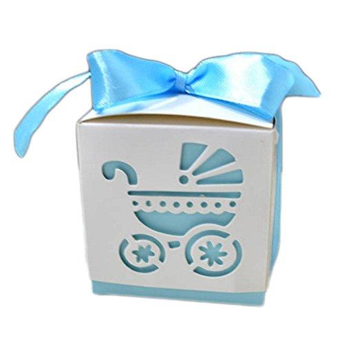 50X Toruiwa Geschenkbox Papier Pralinenschachtel Hochzeit Süßigkeiten Boxen mit Bowknot für Hochzeit Geburtstag Baby Dusche Weihnachten Taufe Kinder Party Babyparty (Hellblau)