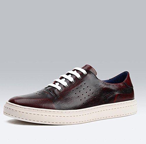 WZW Herren casual Retro Runde Zehe Schnür Leder Schuhe einzelne Schuhe red brown
