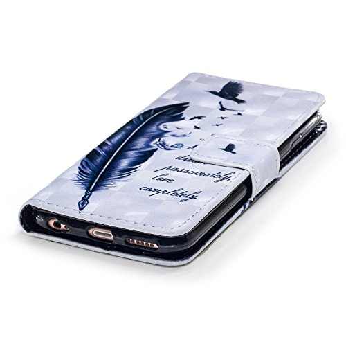 6 Plus Hülle, 6S Plus Hülle, iPhone 6 Plus Hülle, iPhone 6S Plus Hülle, iPhone 6 Plus / iPhone 6S Plus Hülle Muster, iPhone 6 Plus / 6S Plus Leder Wallet Tasche Brieftasche Schutzhülle, BONROY 3D Bunt Große Gänsefedern