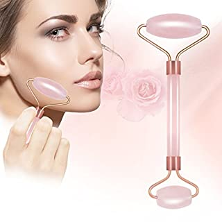 Rose Jade Roller for Face 100% Natural Quartz Anti-Aging Massage Roller wiith Gua SHA Scraping Massage Tool Set for Slimming Healing Rejuvenation & Beauty. (Pink)