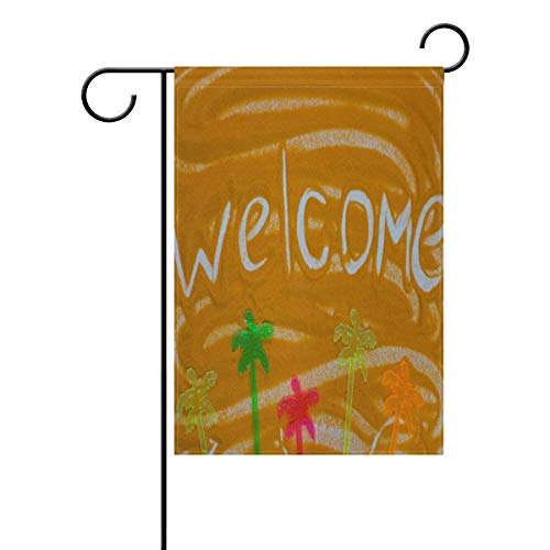 momnn Summer Palm Tree Garden Yard Flag,Welcome on Orange Sand Indoor Outdoor Decorative Flags for Farm House Wall Banner 12x18 inches