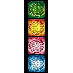 Mandalas - The Flower Of Life, The Four Elements Cuadro, Lienzo Montado Sobre Bastidor (90 x 30cm)