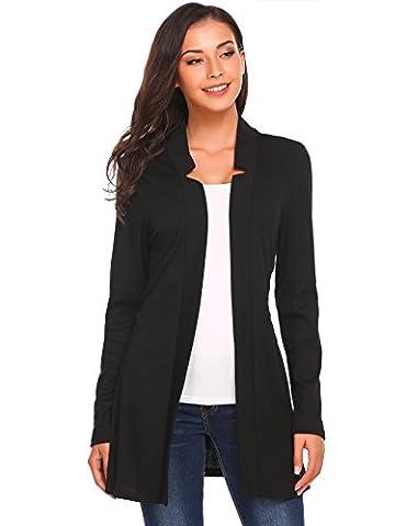 ZEAGOO Women's Long Sleeve V-neck Waterfall Drape Cotton Warm Sweater Cardigan, with Belt(Black L)