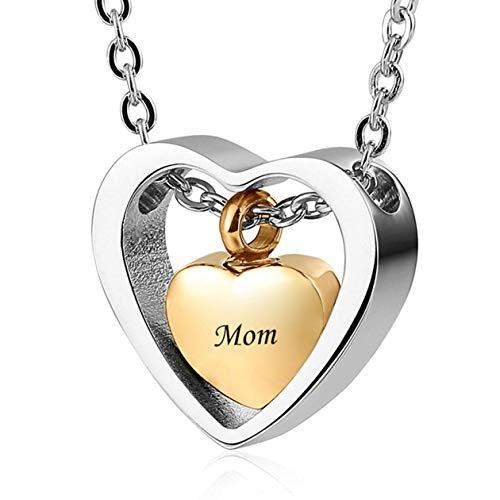 rfrrsss Nützliche 1 Stück Herzförmige Kassette Halskette Asche Andenken Anhänger Halskette für Frauen & Mädchen (Keine Mama) -