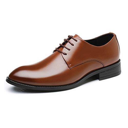 SCSY-Oxford-Schuhe Herren Einfache Formale Business-Schuhe Klassische Matte PU-Leder Oben Lace Up Atmungsaktiv gefütterte Halbschuhe (Color : Braun, Größe : 28CM) -