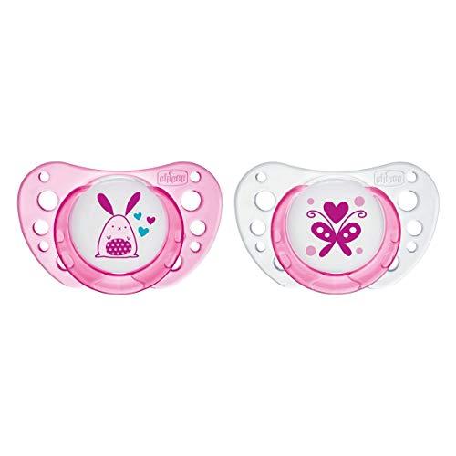 Chicco Physio Air - Pack de 2 chupetes de látex/caucho para 0-6 meses, color rosa