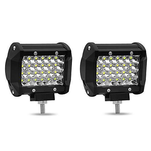 RZL LED Lights 72W DC 9-30V 4inch LED Licht, Stab-Viererkabel-Reihen-Punkt- / Flutlichtstrahl-LED-Würfel-Arbeits-Licht, das Nebelscheinwerfer-Straßenbeleuchtung for Auto-LKW-Jeep, 2 Satz fährt (4-zoll-nebelscheinwerfer Für Lkw)
