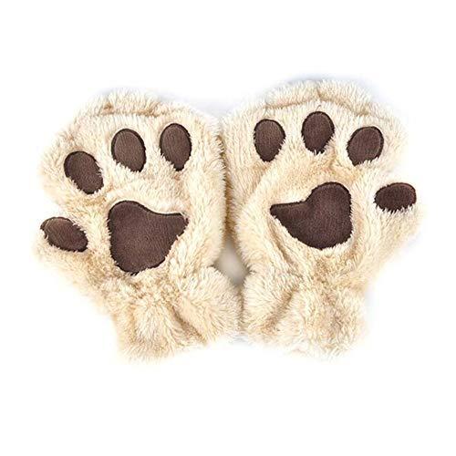 ZHANGYUGEGE Kawaii Cute Mujer Invierno Fluffy Oso/Cat Paw/Garra Glove-Novelty Felpa Suave porción Dama Guantes Cubre la Mitad del Regalo del Día de Navidad,Beige