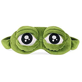 ANGTUO Fluff Sleep Eye Mask Sad frog Cartoon 3D Mask Creative gifts for Girlfriend, Party, Children